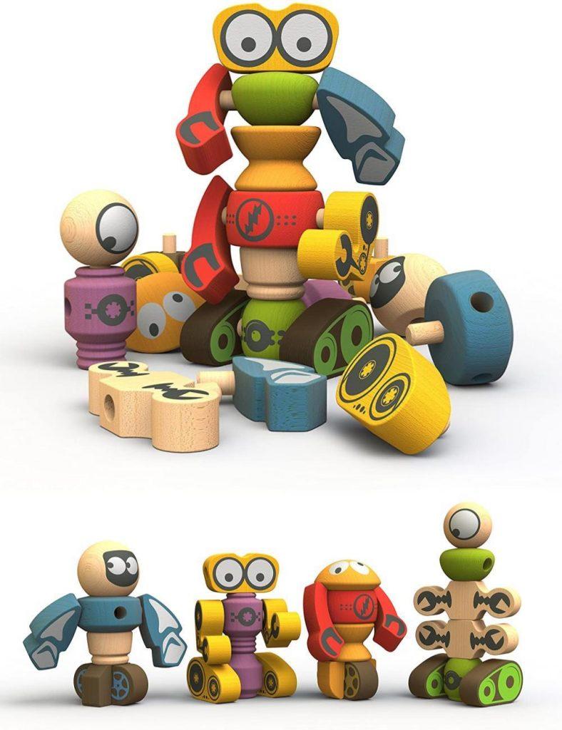 Begin Again Tinker Totter Wooden Cartoon Robot Character Set