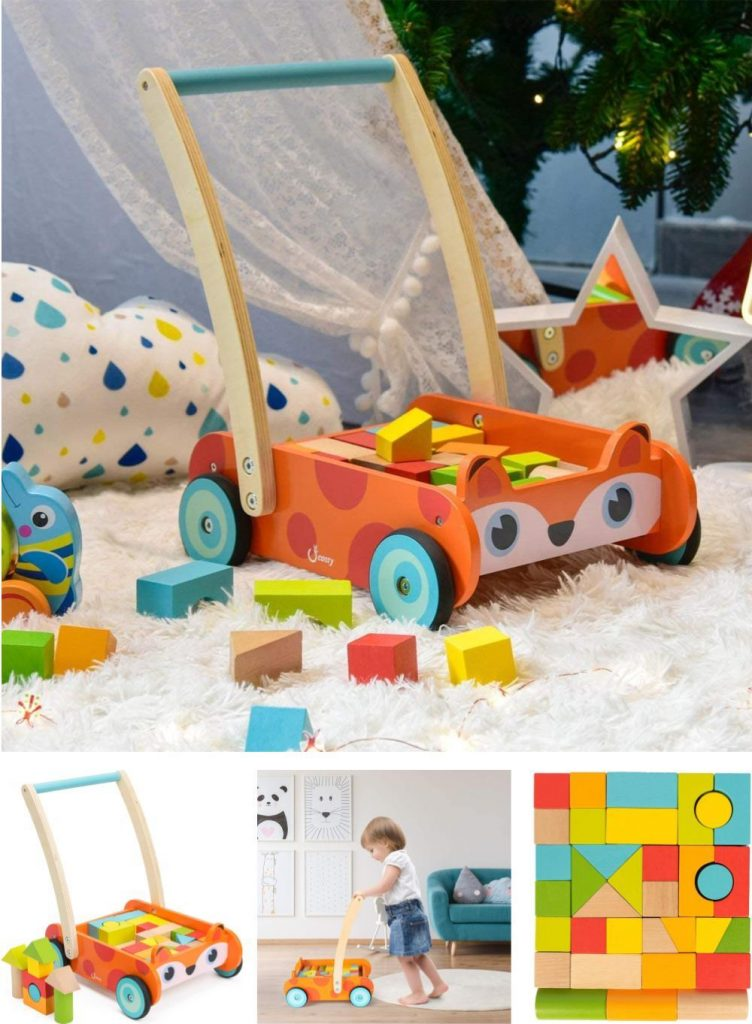 Cossy Wooden Baby Learning Walker With Wooden Building Blocks 1 Year Baby