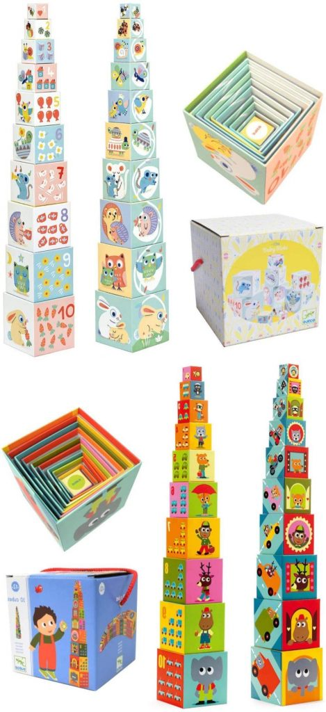 Djeco Fiberboard Baby Stacking Blocks For Building And Counting