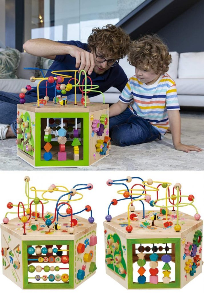 Everearth Garden Activity Cube Is A Six Sided Wooden Toddler Activity Center
