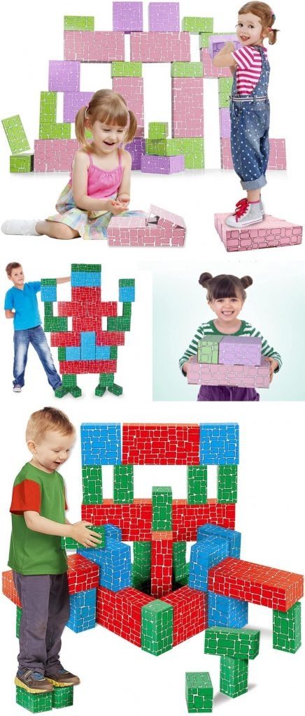 Exercise N Play Colorful Pastel And Primary Kids Giant Cardboard Block Set