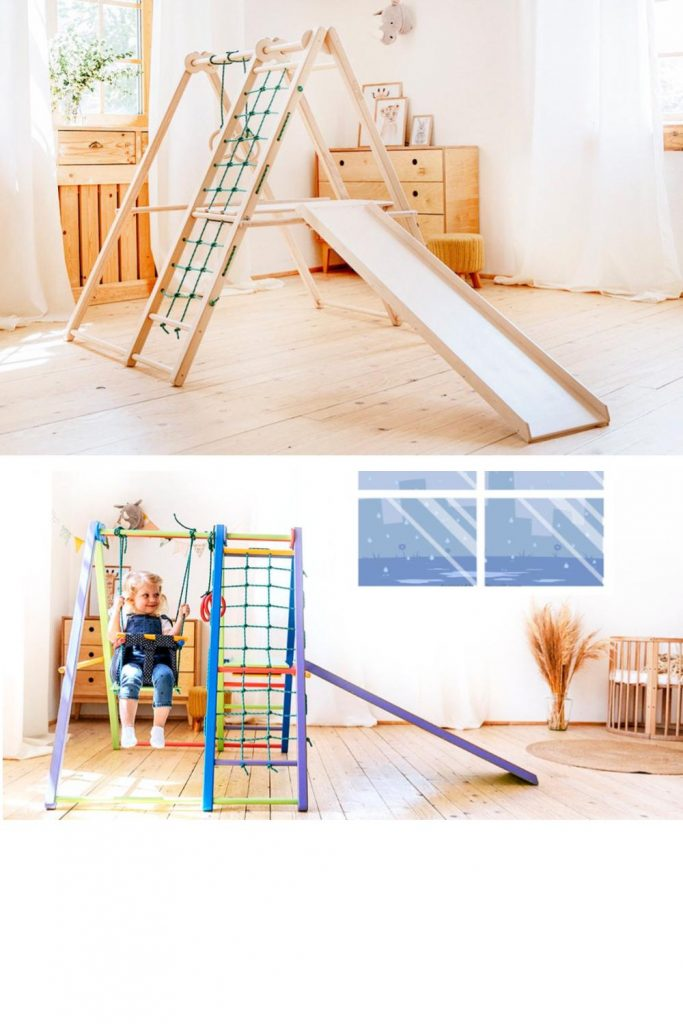 Ezplay Indoor Wooden Jungle Gym With Ladder Rope Ladder Slide And Swing