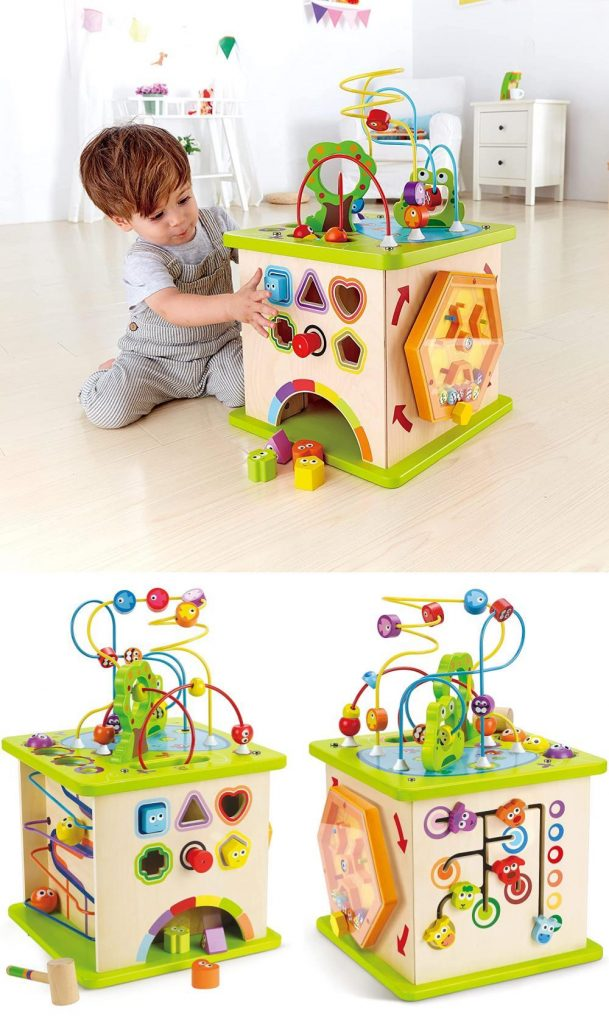 Hape Country Critters Wooden Play Cube With Hammer Peg
