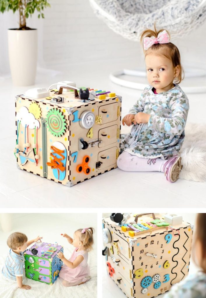 Laser Temples Large Wooden Activity Cube With Busy Sensory Activities