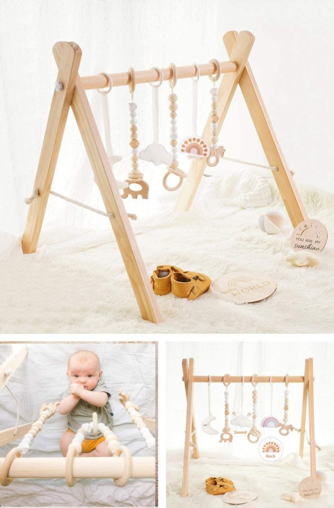 Little Dove Wooden Baby Gym Active And Quiet Play For Mindful Babies