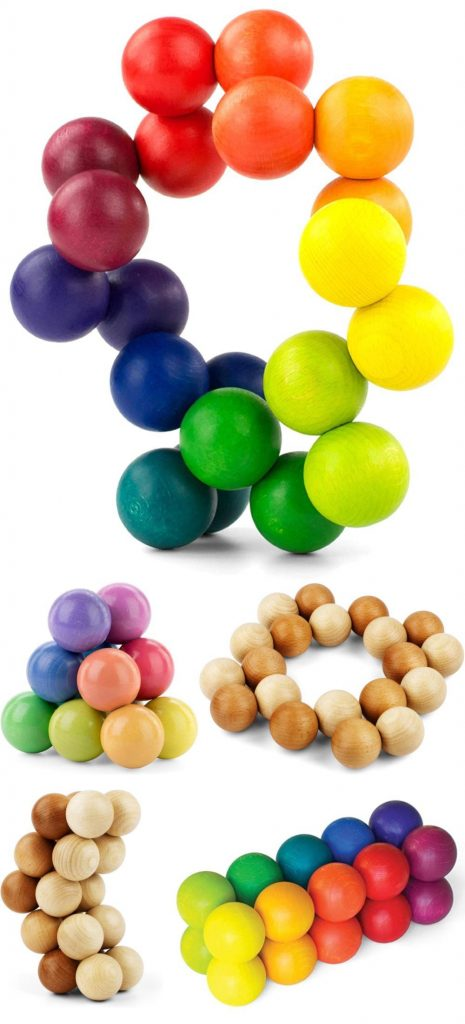 Playable Art Ball Artistic Elastic Wooden Balls Mindfulness Office Toy