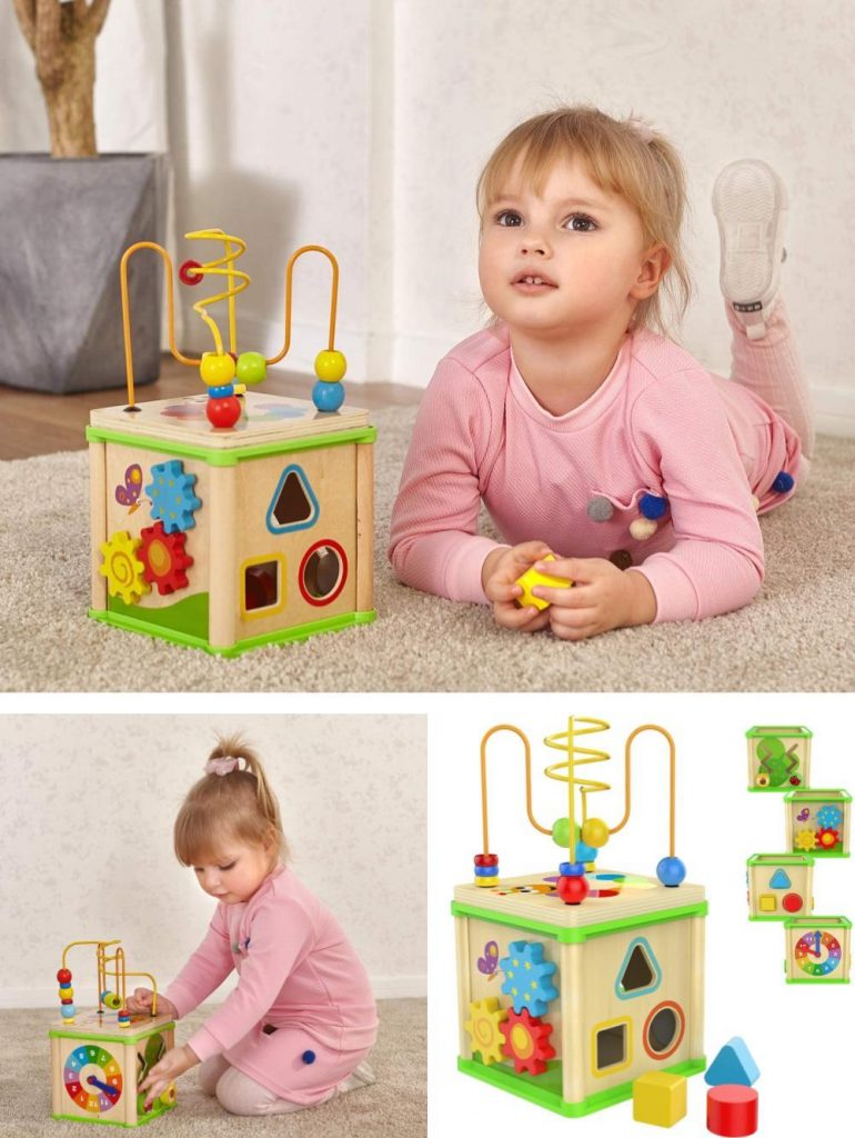 Top Bright 5 In 1 Wooden Shape Sorter Activity Cube