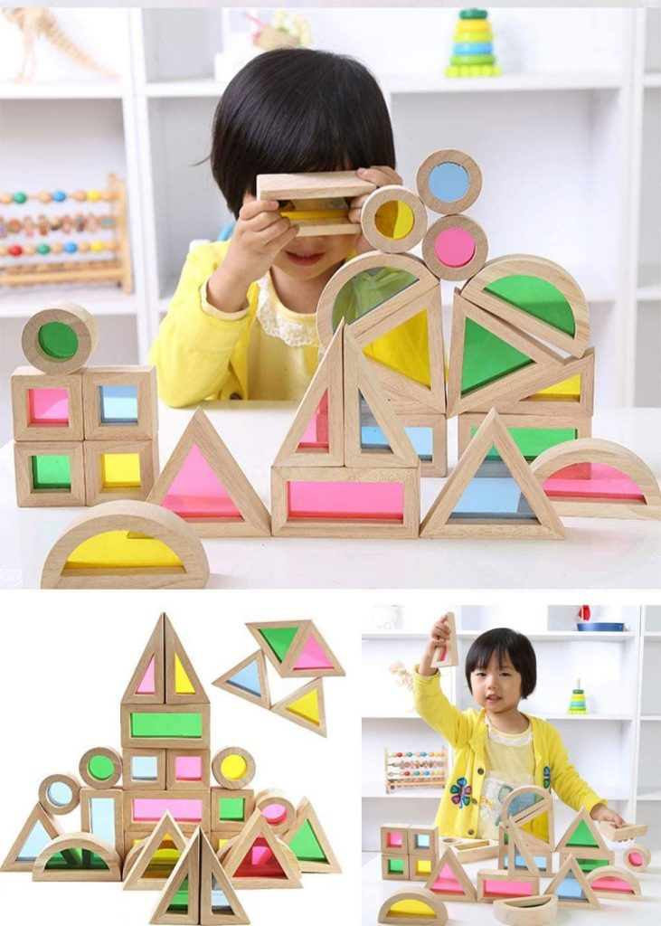 Acrylic Rainbow See Through Wooden Blocks With Colorful Shadow