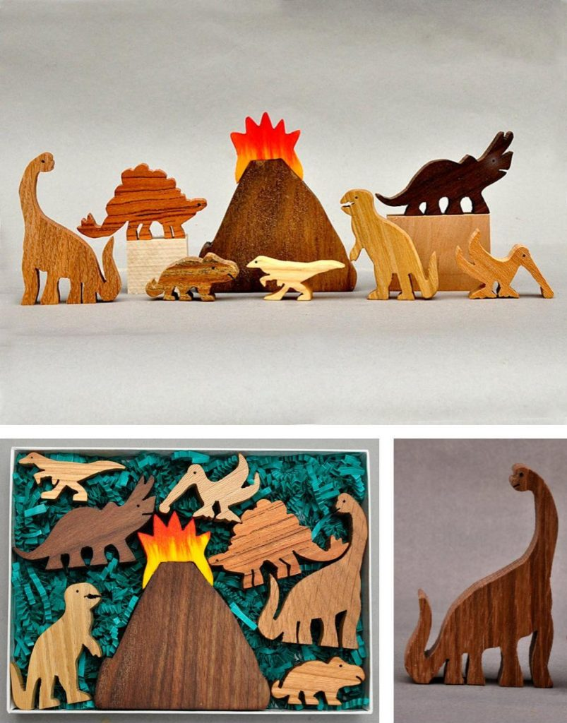 Arks And Animals Made In Usa Wooden Dinosaur Block Set