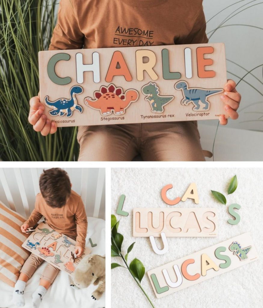 Busy Puzzle Personalized Wooden Dinosaur Name Puzzle