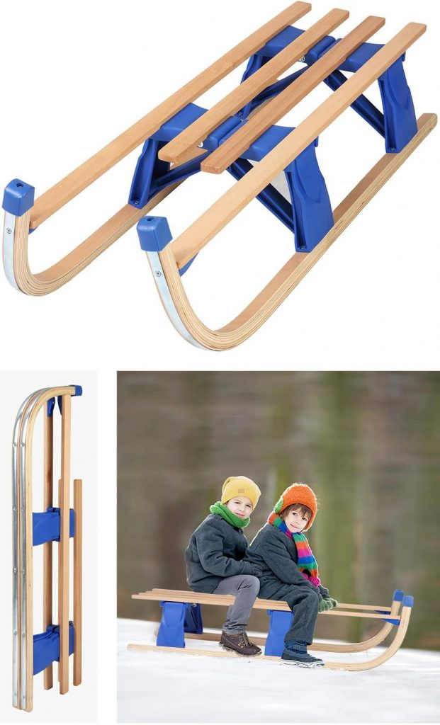 Color Tree Foldable Wooden Sled Wooden Pull Sled