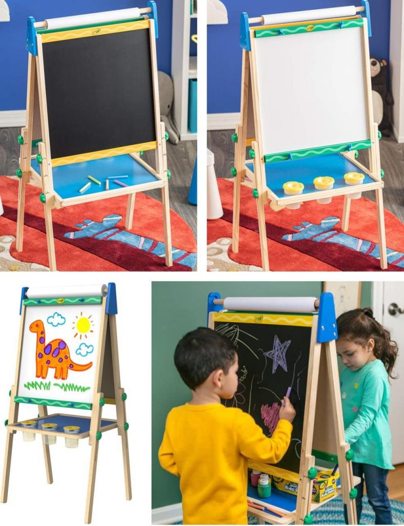 Crayola Kids Wooden Art Easel Adjustable Height For Toddlers And Kids