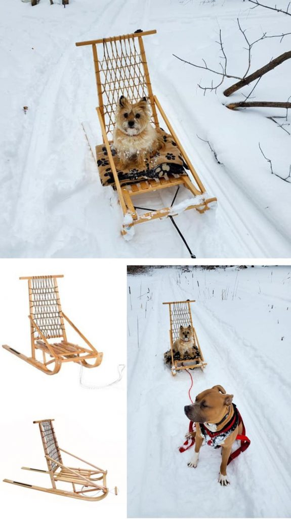 Excursions Wooden Dog Sled Kicksled For Kids And Adults Outdoor Snow Cross Country