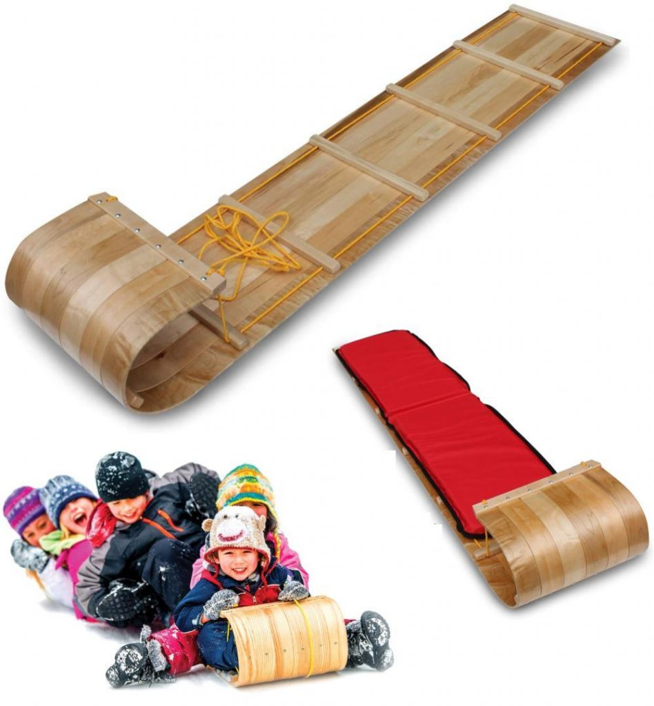 Flexible Flyer Family Sized Wooden Toboggan Sled For 1 To 3 Riders