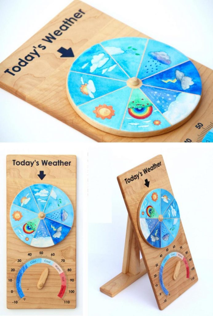 From Jennifer Natural Wooden Montessori Weather Wheel With Temperature