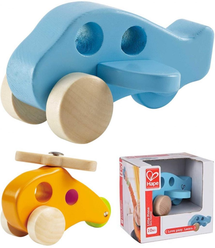Hape Little Plane Wooden Toy Vehicle Chunky Wooden Baby Airplane Toy