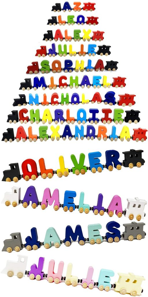 Kidzco Kids Wooden Toy Train Letters Affordable Wooden Personalized Train Gift