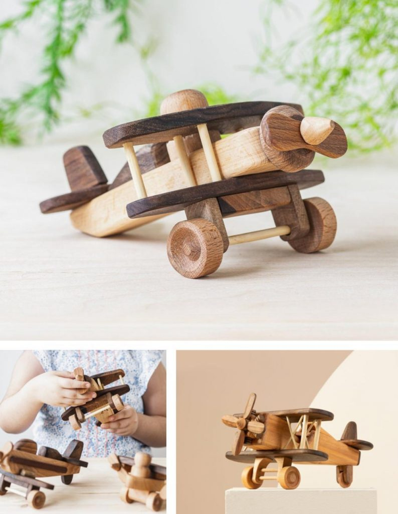 Kind Woodpecker Best Personalized Wooden Baby Airplane Gift