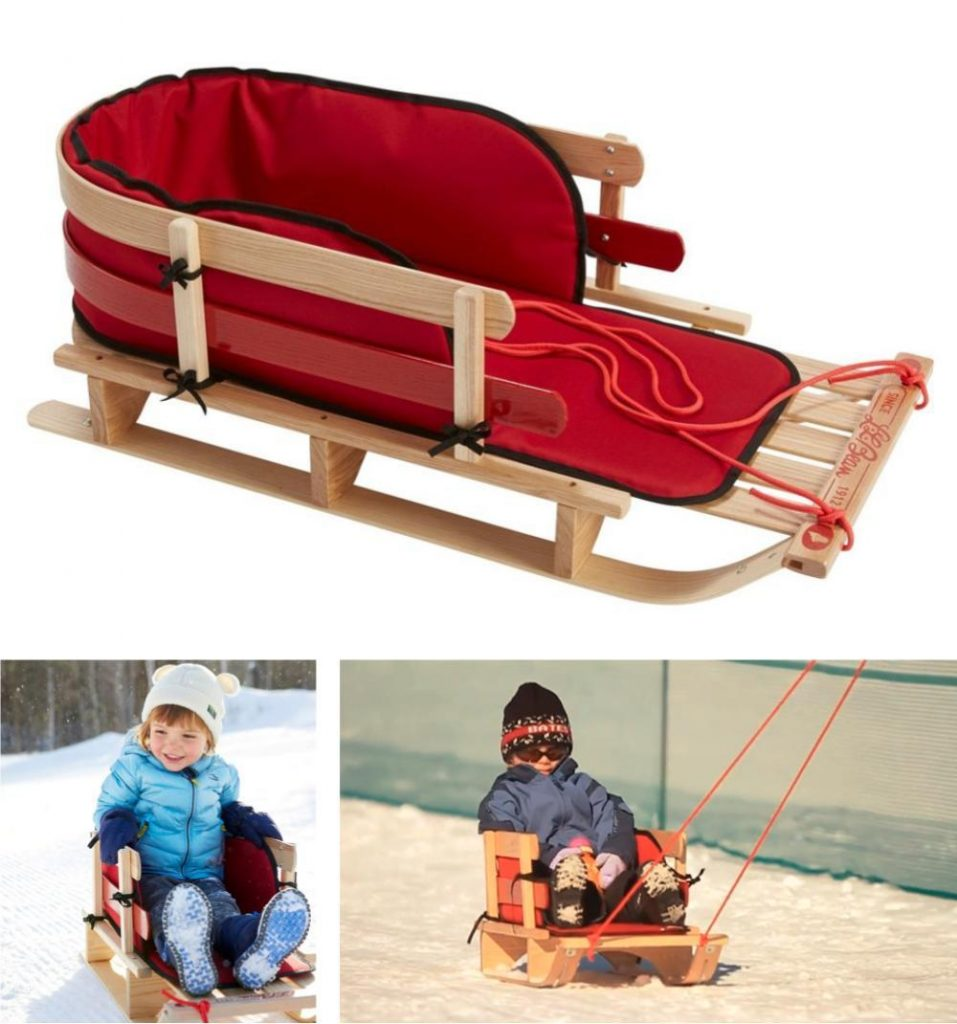 Ll Bean Premium Quality Kids Wooden Pull Sled With Cushion And Rope