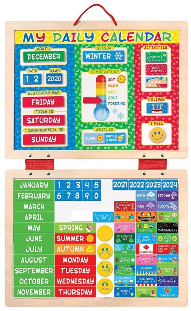 Melissa And Doug Daily Magnetic Wooden Calendar For Toddlers And Kids
