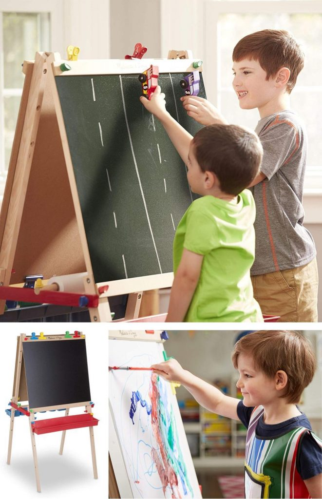 Melissa And Doug Deluxe Standing Wooden Chalkboard And Art Easel For Kids