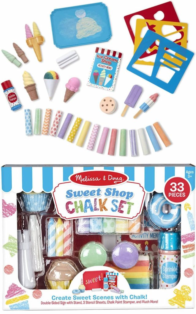 Melissa And Doug Sweet Shop Chalk Play Set 33 Piece Play And 26 Chalk Shapes