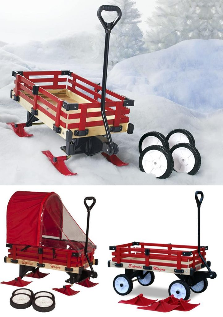 Millside Industries Convertible Kids Wagon For Summe And Snow Sleigh For Winter