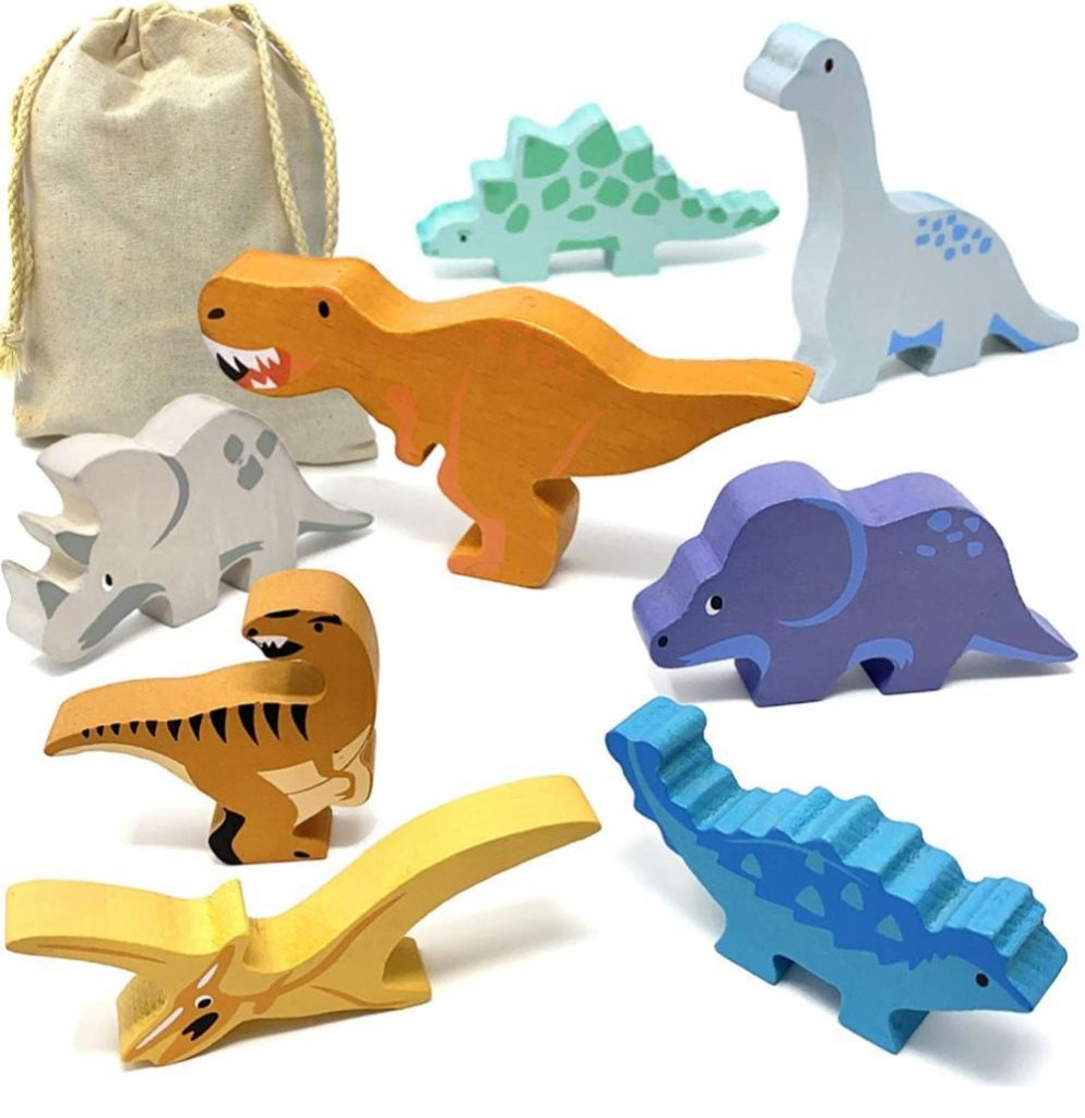 Timber Kid Toys Wooden Toy Dinosaurs Play Set