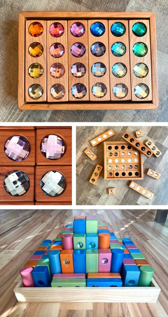 Timber Play Cherry Wood Gemmed Blocks For Toddlers