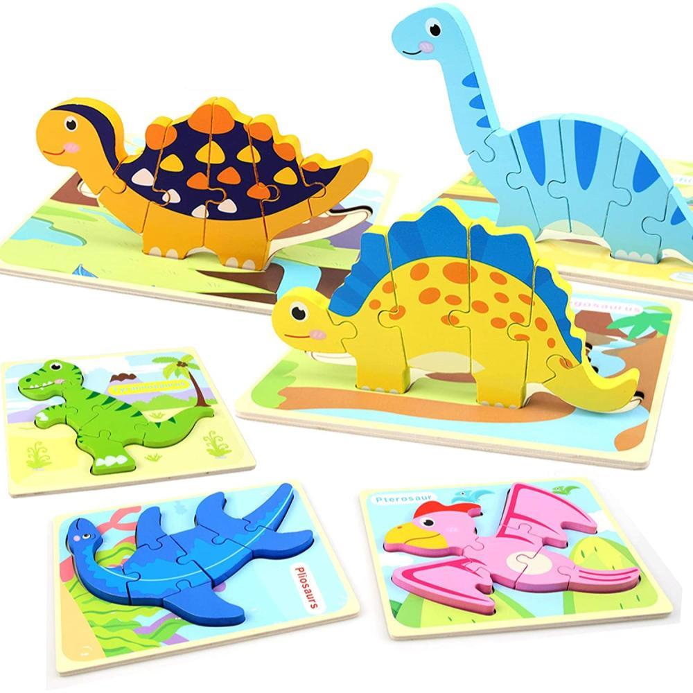 Wood City Wooden Educational Dinosaur Puzzle 6 Pack For Toddlers