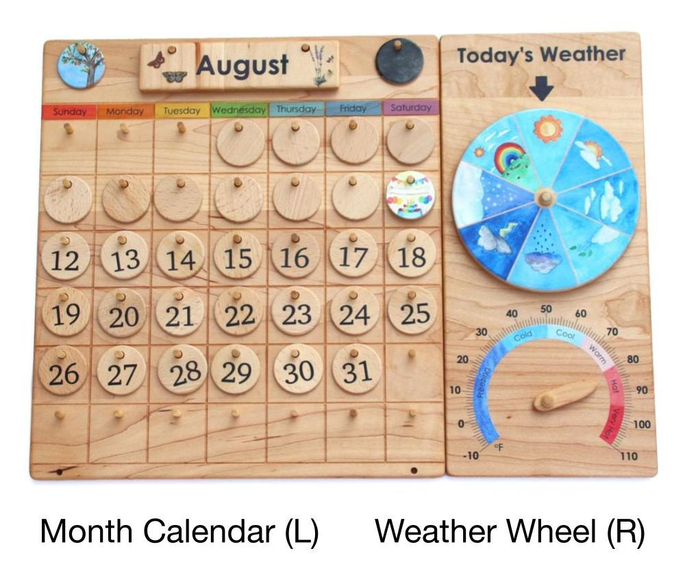 Wooden Montessori Calendar With Weather Chart