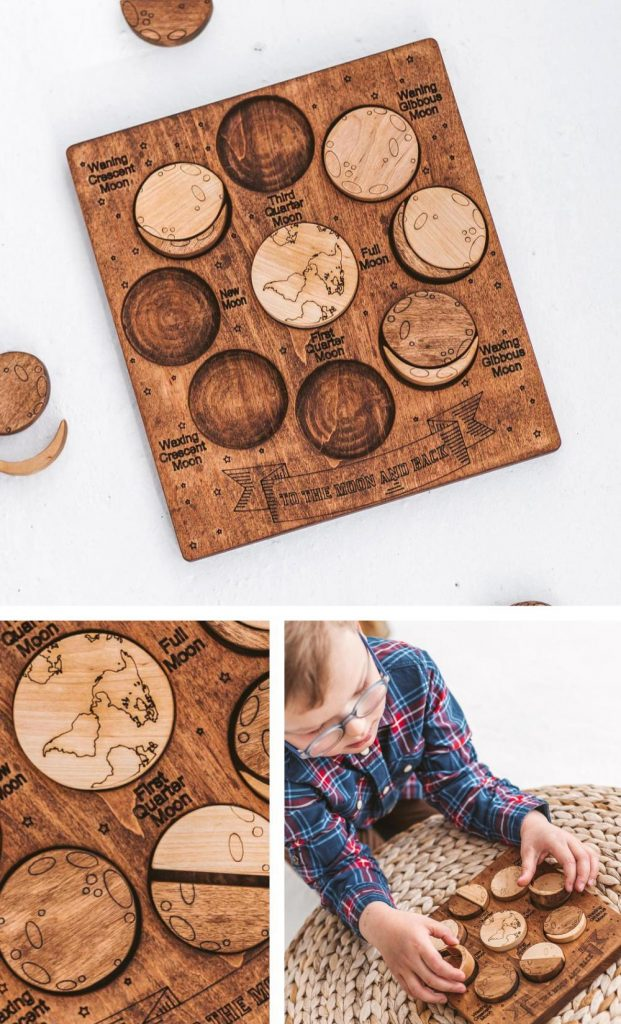 Woodinout Montessori Moon Phases Calender Kids Astronomy Lesson