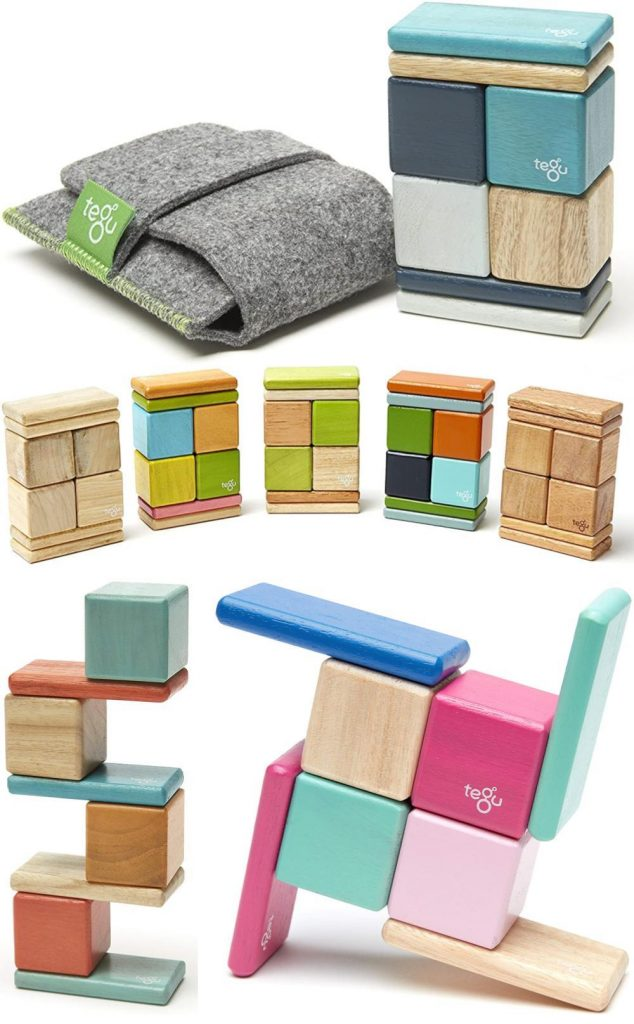 Tegu Pocket Pouch Wooden Magnet Blocks For Traveling Toddlers