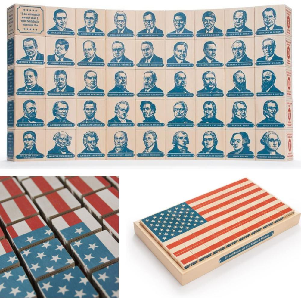 Uncle Goose Usa Presidents Blocks American Flag Wooden Blocks Puzzle