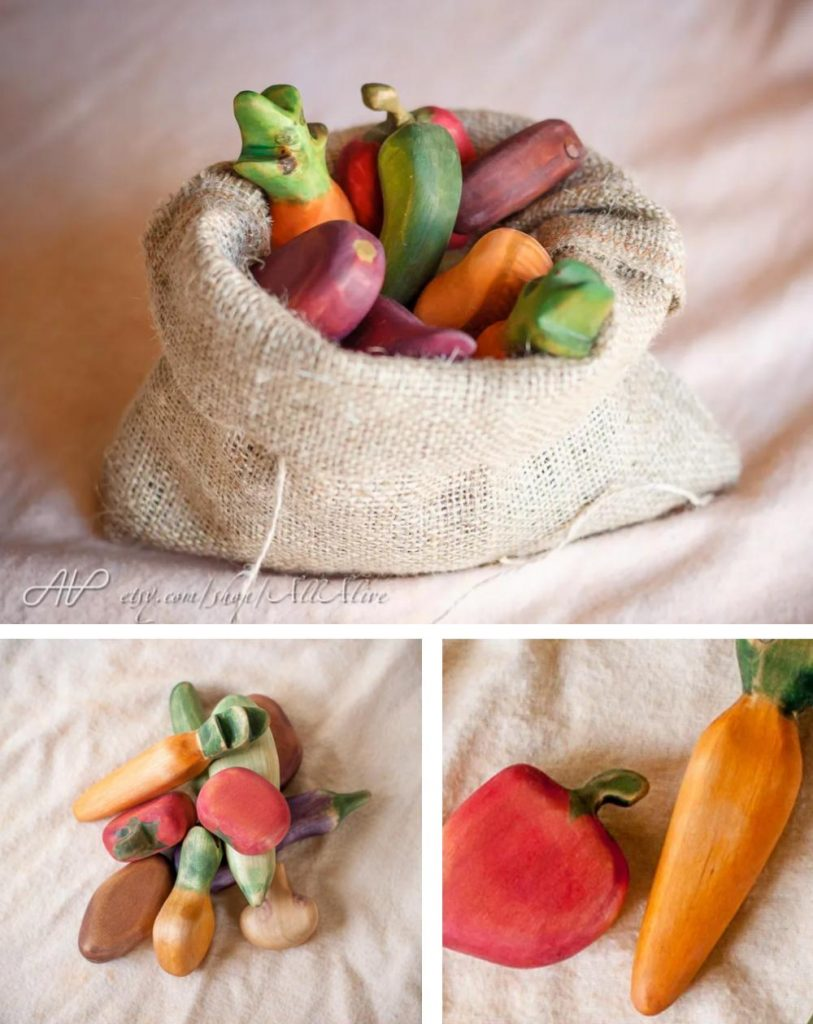 All Alive Handmade Organic Wood Play Fruit With Canvas Bag