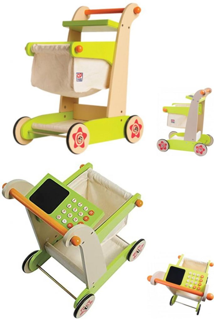 Constructive Playthings Play Shopping Cart Set With Canvas Basket