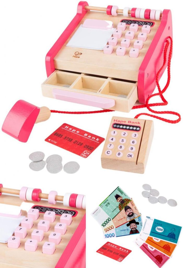 Hape Checkout Wooden Register With Bar Code And Credit Card Scanners