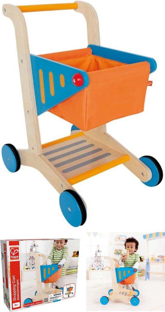 Hape Wooden Toddler Shopping Cart For 3 To 5 Years