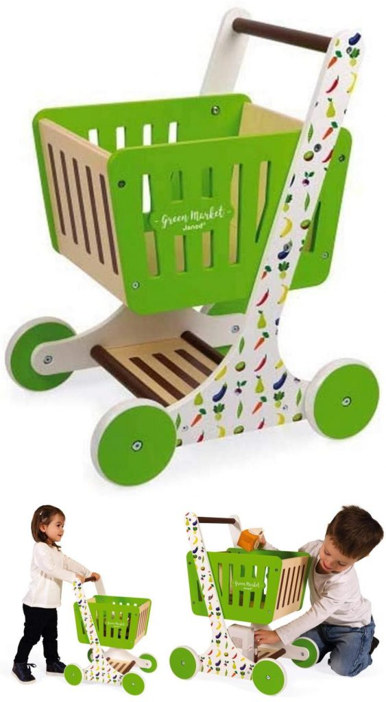 Janod Bright Green Wooden Baby Grocery Cart For 18 Plus Months