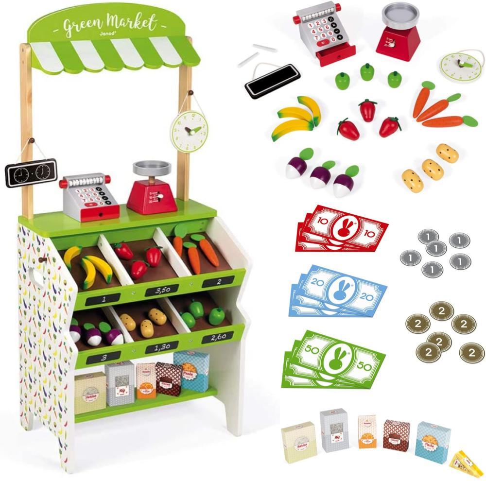 Janod Green Market Wooden Grocery Stand Full Sized Toddler Height