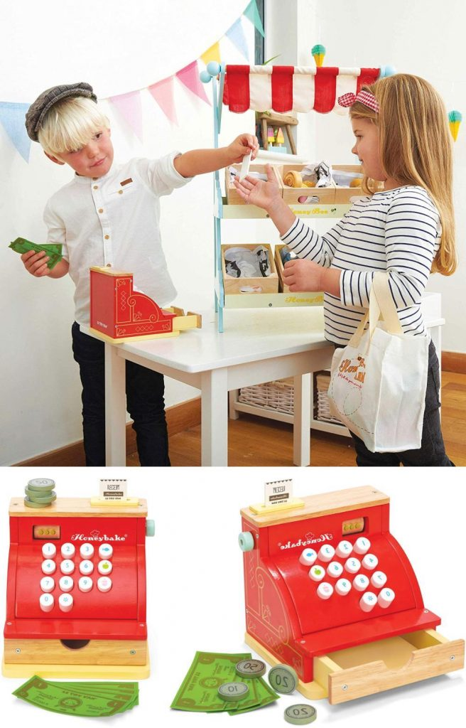 Le Toy Van Honeybake Wooden Toy Cash Register With Receipt And Opening Till