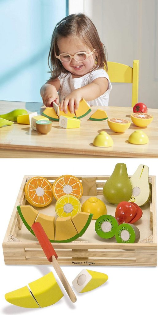Melissa And Doug Cutting Fruit Set With Wood Crate