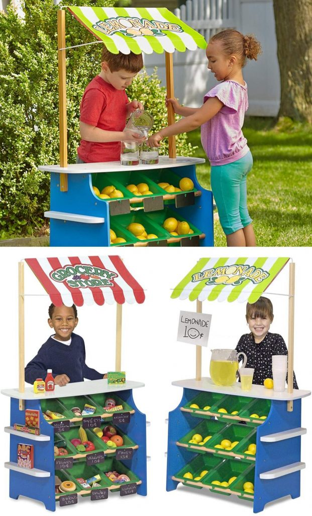 Melissa And Doug Wooden Hybrid Grocery Store And Lemonade Stand For Toddlers