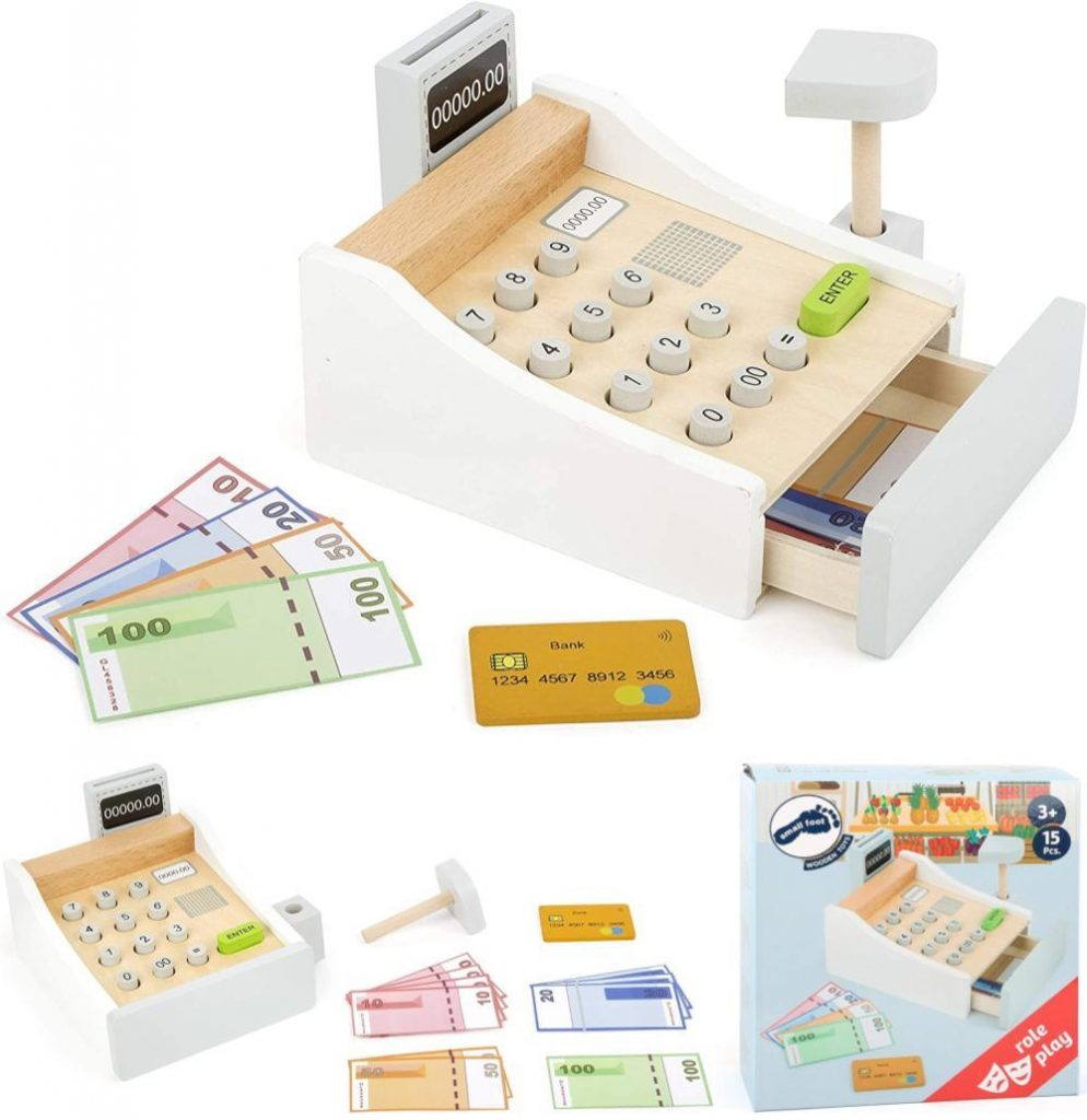 Small Foot Toys Nordic White Play Cash Register For Kids 3 Plus Years