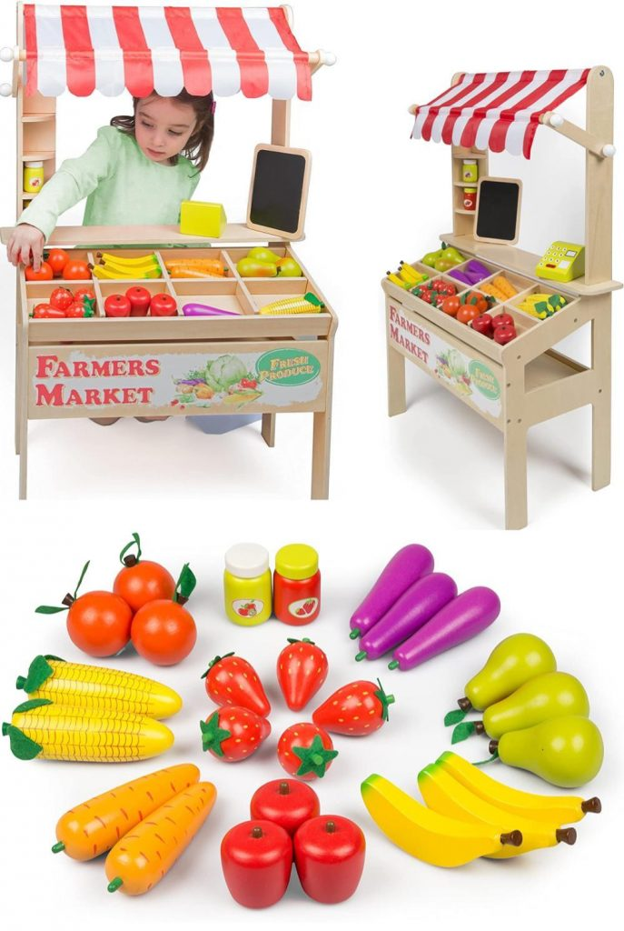 Svan Store Wooden Farmers Market Stand With Fruit And Cash Register