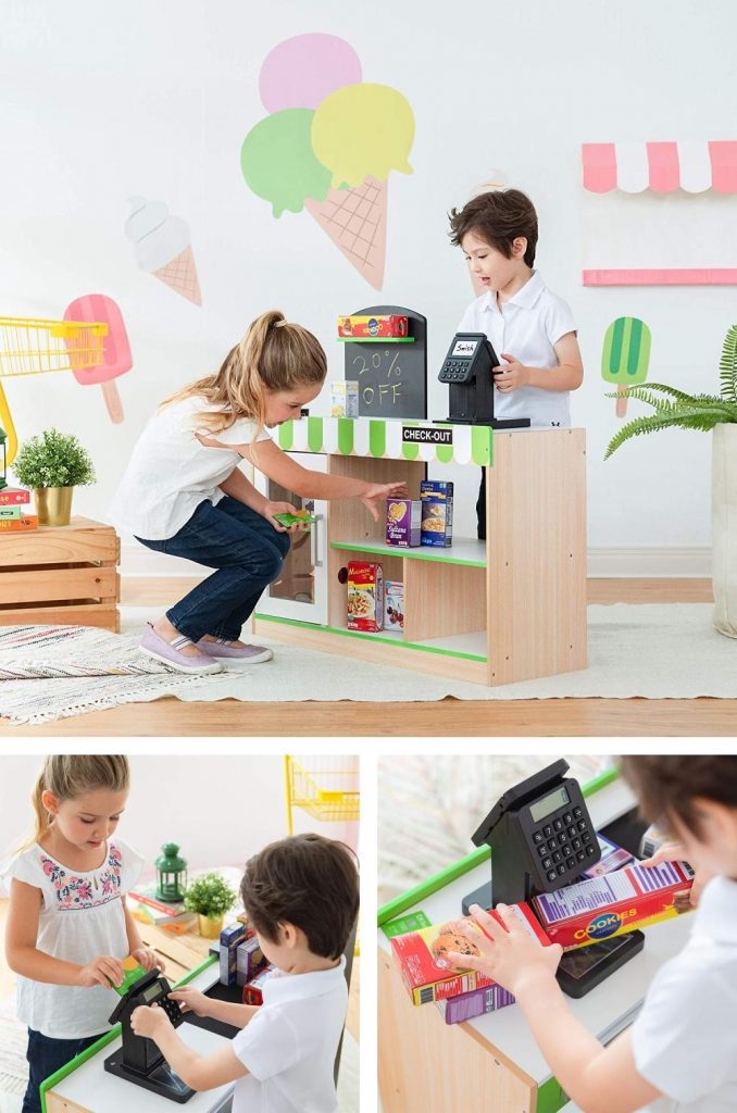 Teamson Kids Two Sided Cashier Play Grocery Stand Wide Table Design