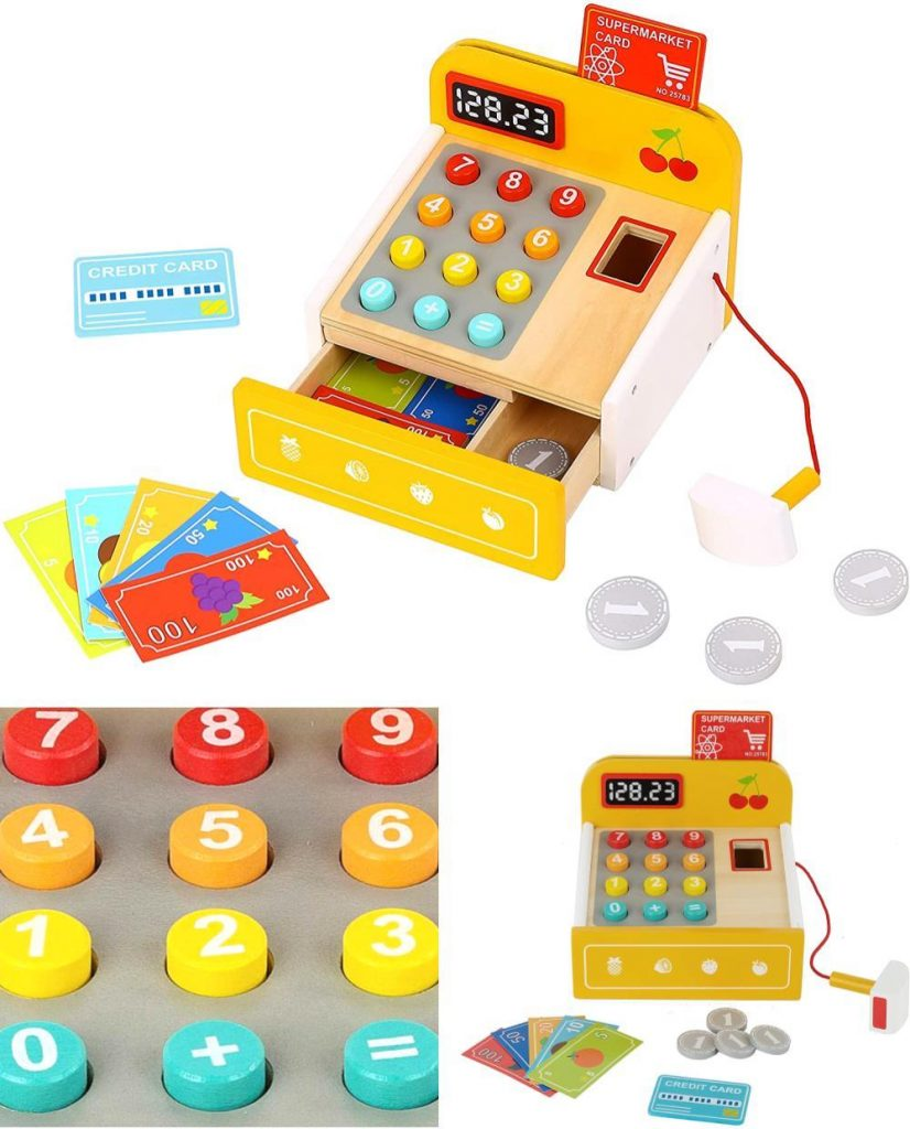 Toy Chest Nyc Yellow Cash Register Toy With Wooden Bills And Coins