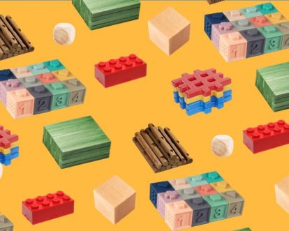 Pattern of all different types of wooden blocks for kids on a yellow background.